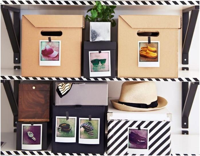 pudełka ze zdjęciami do przechowywania butów