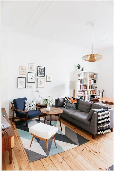 Стильный ковёр в небольшой гостиной