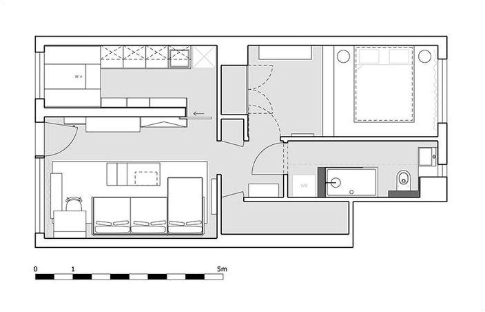 Разположение на апартамента, 45 кв.м.