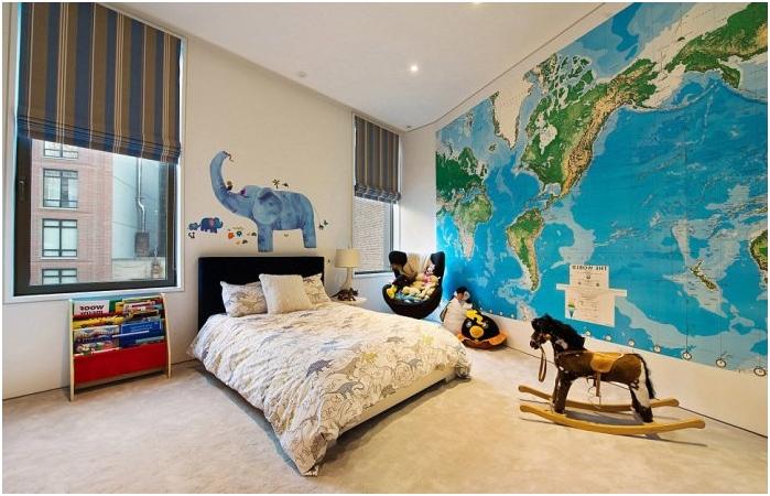 maailmankartta lastentarhan sisustuksessa