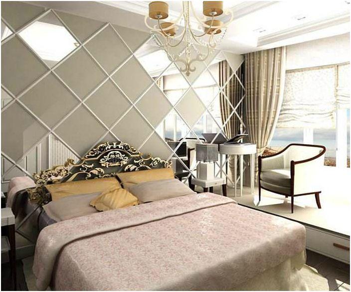 Огледални панели в интериора на спалнята.