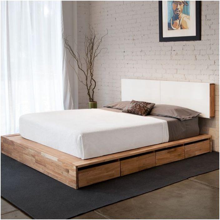 Łóżko na małym funkcjonalnym podium