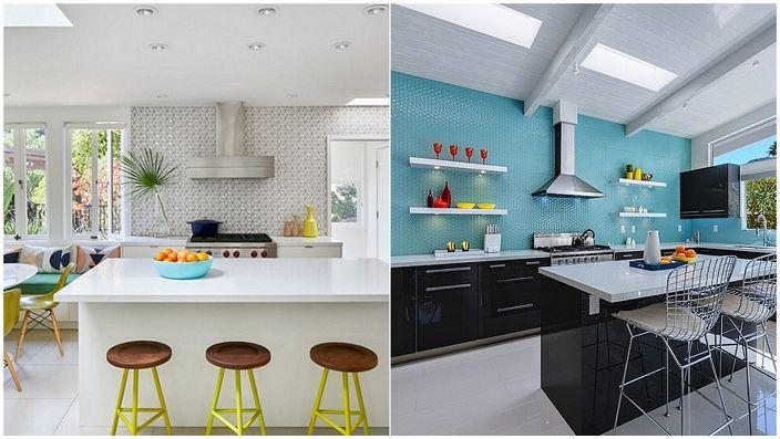 Esimerkkejä keittiöistä, joissa on kontrastia.