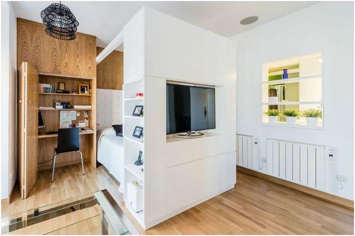 Mieszkanie z funkcjonalnymi rozwiązaniami, które przydadzą się właścicielom niewielkich rozmiarów