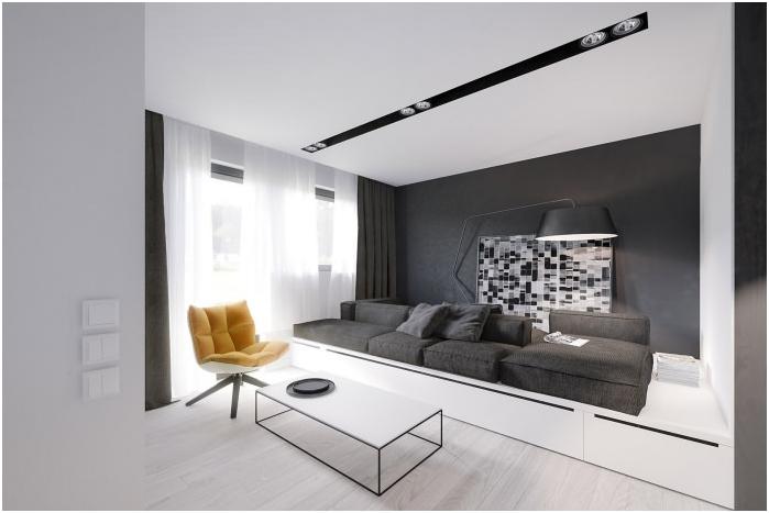 styl minimalizmu we wnętrzu salonu