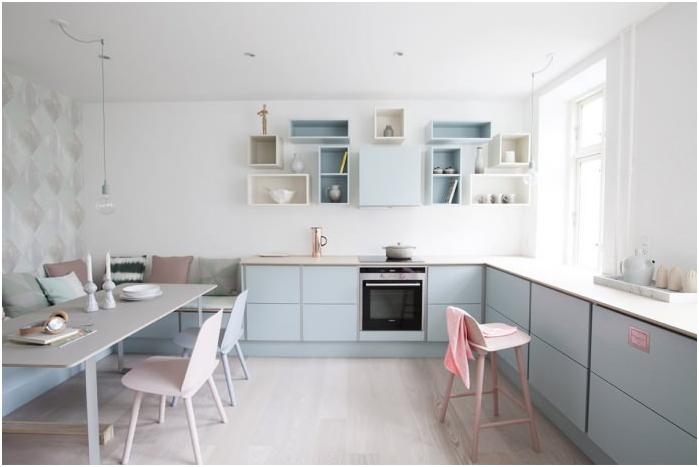 минимализъм стил в интериора на кухнята в пастелни цветове