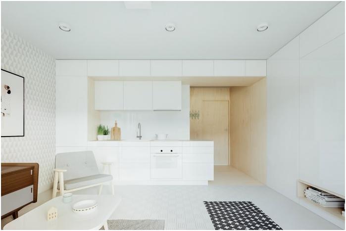 минимализъм стил в интериора на кухнята в бяло