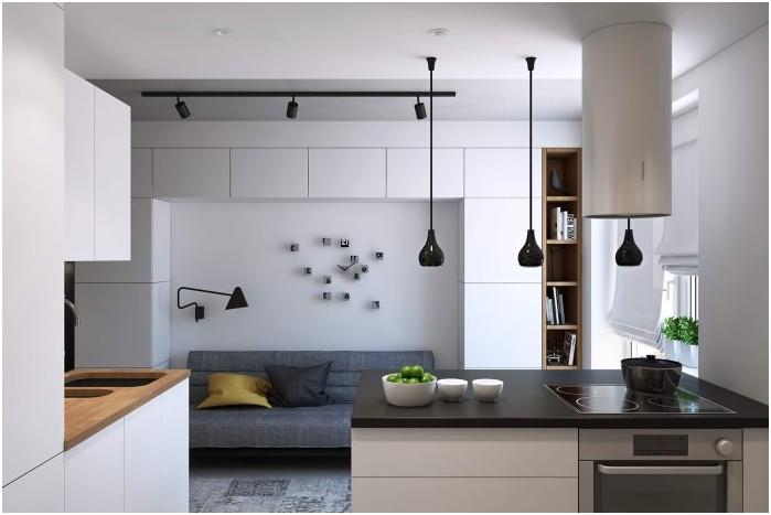 минимализъм стил в интериора на кухнята-хол