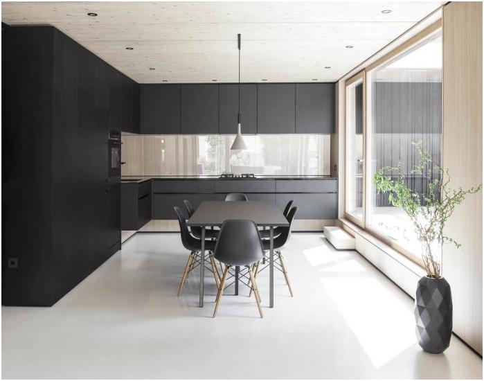 минимализъм стил в интериора на кухнята с черен комплект