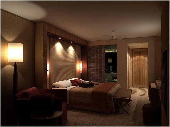Спалня с приглушени светлини, но въпреки всичко красиви лампи над леглото, което ще ви позволи да четете любимите си книги в него.