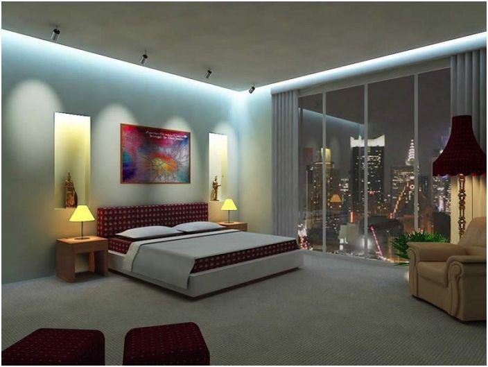 Отлична декорация на спалнята с лампи, което създаде възможност за страхотно прекарване в леглото с любимата ви книга.