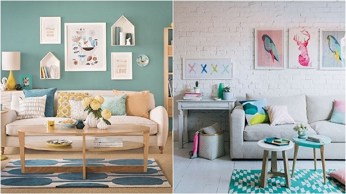 Отлични примери за интериора на стаите в ментов цвят.