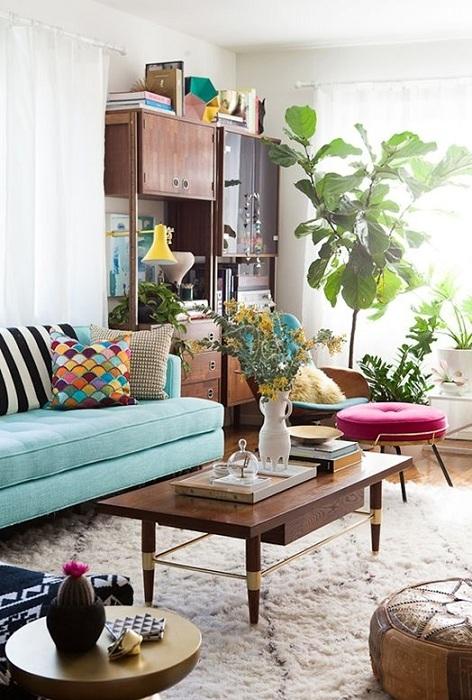 Сочетание комнатных цветов с мятным цветом, отличный вариант оформления комнат.