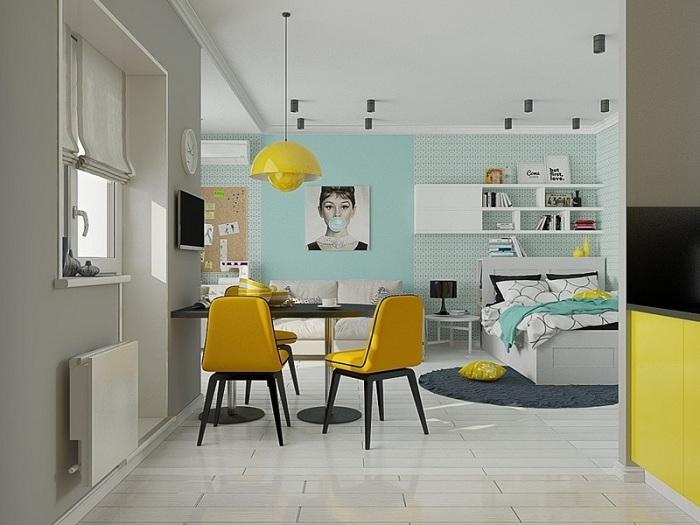 Спалня, проектирана в комбинация с мента и жълт спектър, е модно решение за дръзки хора.
