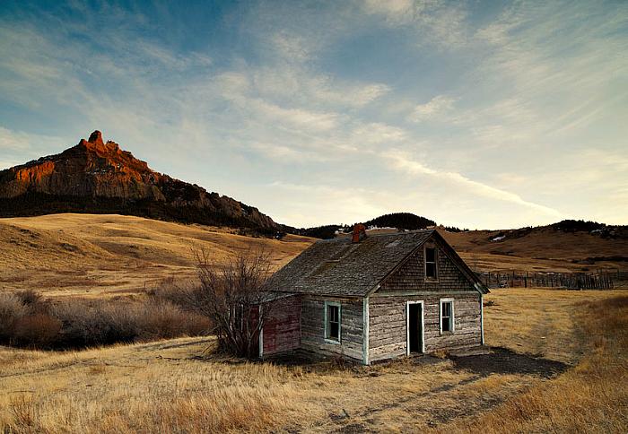 Drewniany dom w Montanie.