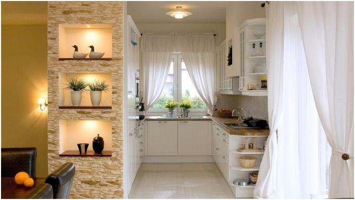 Изкуствен декоративен камък в кухненски ниши