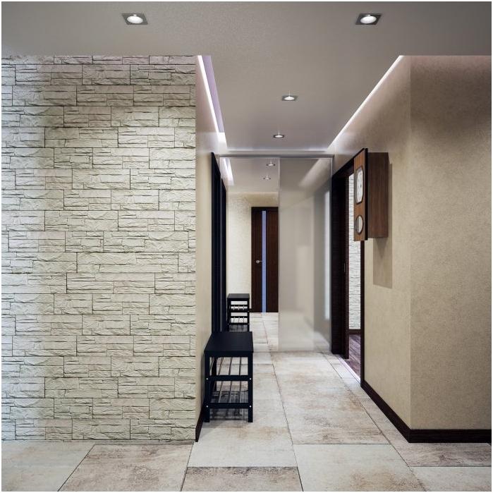 вътрешна украса на коридора с декоративен камък