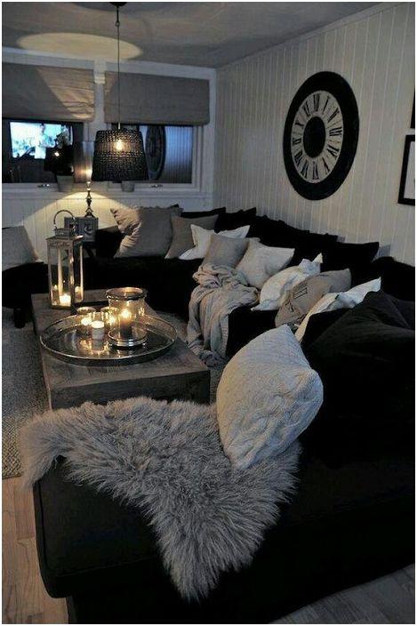 Érdekes és ugyanakkor nem világos nappali kialakítása szürke színekben.