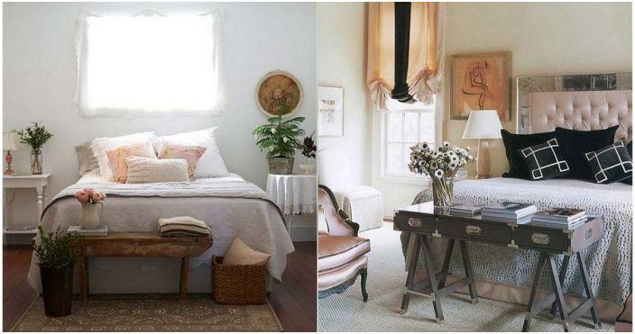 Pomysły na udekorowanie przestrzeni w nogach łóżka.