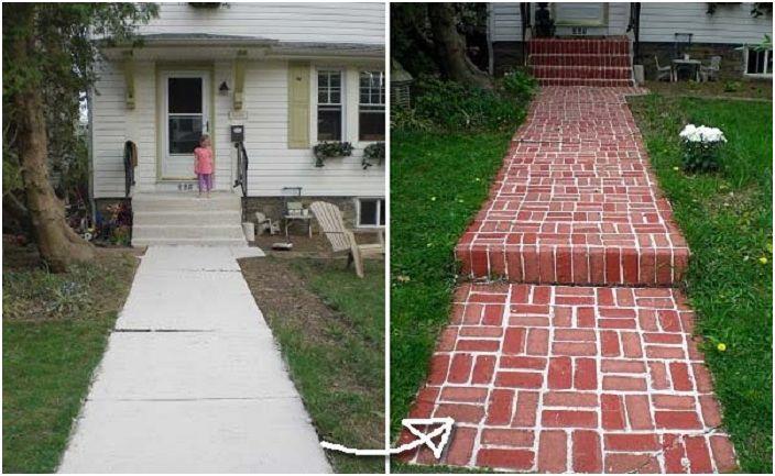 Сладка боядисана тухлена пътека, която ще създаде невероятна обстановка на задния двор.