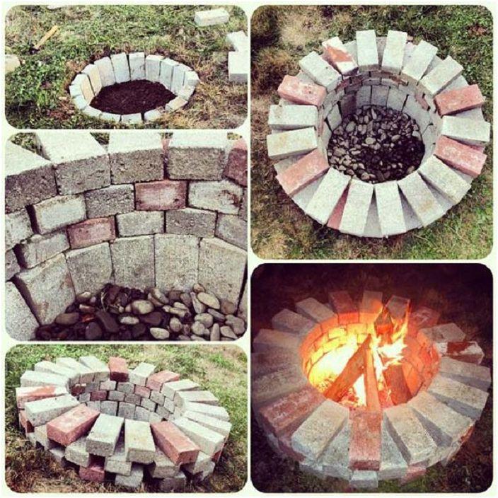 Интересен вариант за дизайн на сайт за огън, изработен от прости тухли.