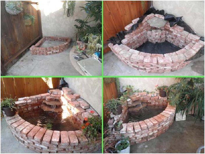 Чудесен вариант за декориране на района в ъгъла на двора с декоративен водопад.