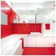 Особенности дизайна ванной в красно-белом цвете-1