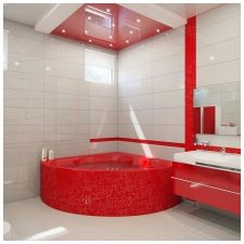 Особенности дизайна ванной в красно-белом цвете-11