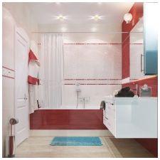 Особенности дизайна ванной в красно-белом цвете-2