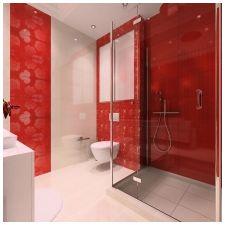 Особенности дизайна ванной в красно-белом цвете-3