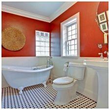 Особенности дизайна ванной в красно-белом цвете-6