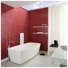 Особенности дизайна ванной в красно-белом цвете-8