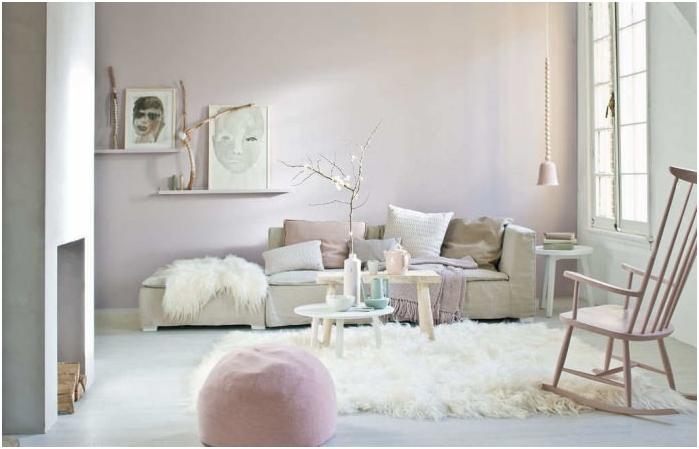 pastelowe kolory we wnętrzu salonu