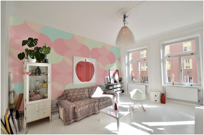 Skandynawski projekt salonu w pastelowych kolorach