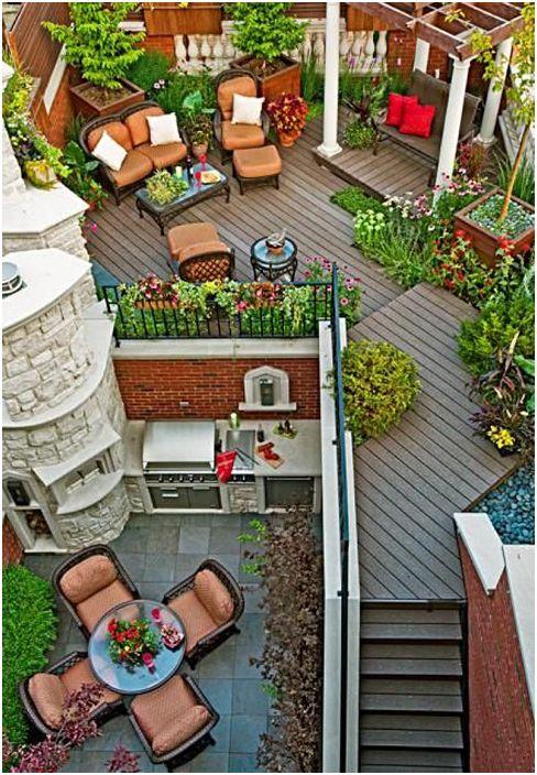 Пълен празничен и развлекателен апартамент на открито с тераси и отлична пергола.