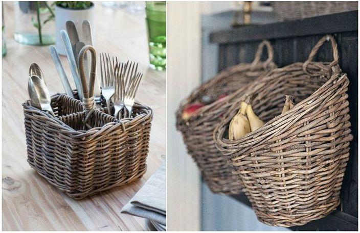 Плетени кошници: 15 очарователни примера как да ги използвате в интериора