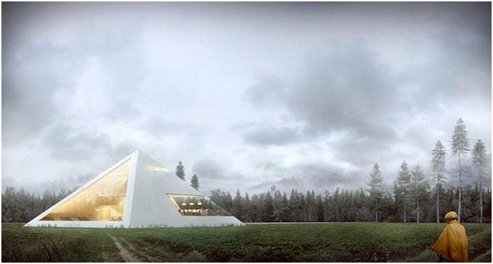 Maison en forme de pyramide avec de larges fenêtres.
