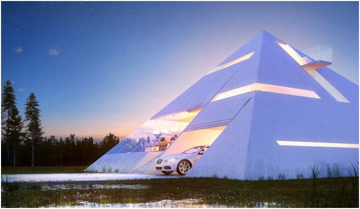 La maison est pyramidale.