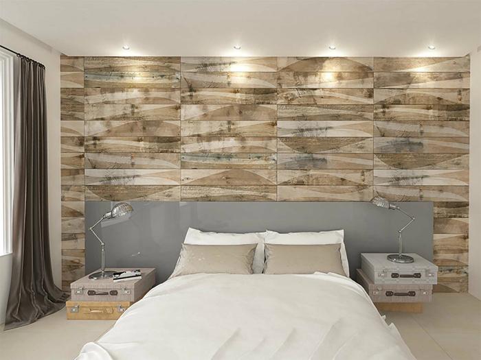 Ściana ozdobiona deskami.