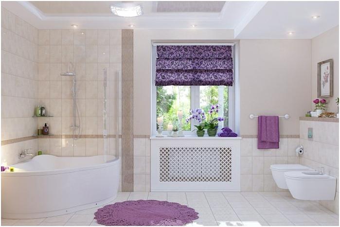dekoracja okna z roletami rzymskimi w łazience