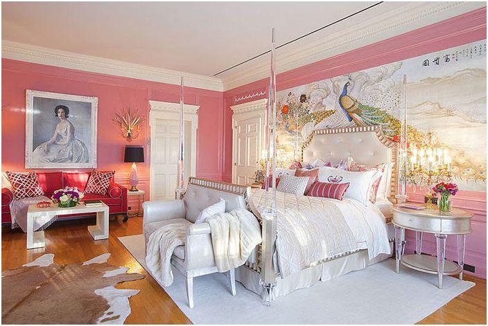 Różowe wnętrze sypialni autorstwa Woodson & Rummerfield & rsquo; s House of Design