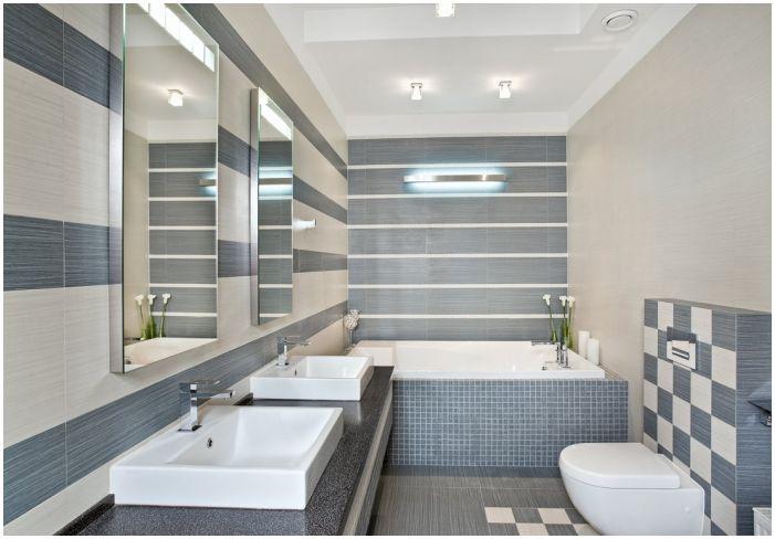 сиво-бежови плочки в банята
