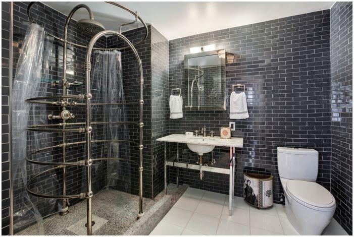 тъмно сив плочки за баня в стил лофт