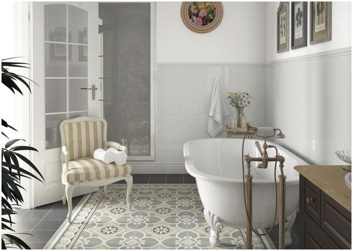 сиви плочки за баня в стил кънтри