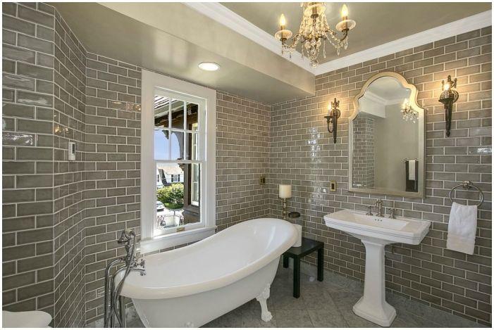 сиви плочки за баня в класически стил