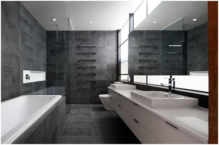 тъмно сиви плочки за баня