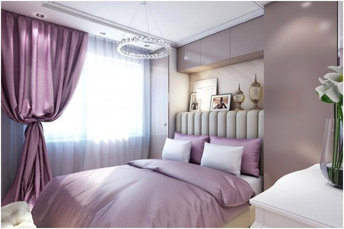 Интериор на спалнята в люлякови цветове