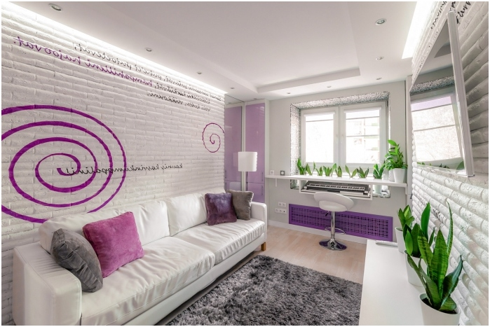 интериор на всекидневната в люлякови цветове