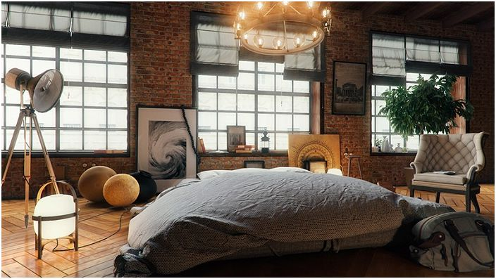 Ciekawe wnętrze w stylu loftu z jasnymi światłami i zdjęciami.