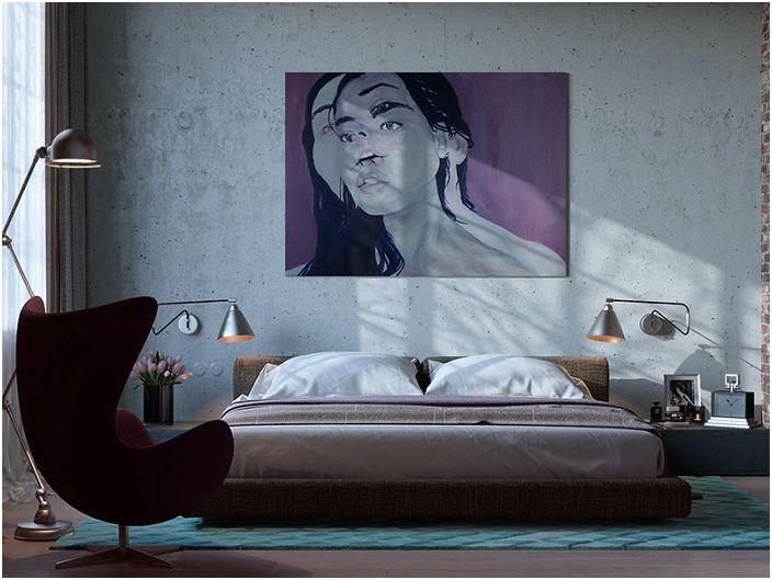 Niezwykły obraz dopełniający wnętrze w stylu loft, schludny i dobrze zorganizowany.